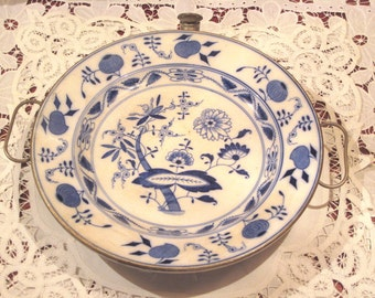Antique German Blue Onion Warming Plate