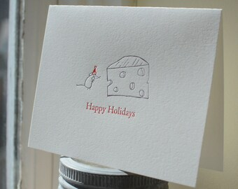 SALE Letterpress Holiday Cards - A Mouse and His Cheese, Set of 8