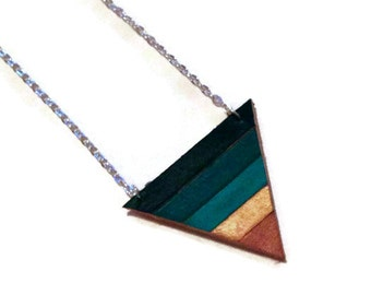 Green ombré leather painted triangle necklace. Leather geometric necklace. Arrowhead necklace. Color block necklace.