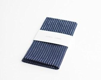 Wedding pocket square blue white stripes
