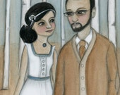 Custom Portrait Illustration - Victorian and Edwardian Inspired Watercolor Portrait Paintings