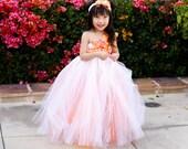 Flower girl dress. White Tutu Dress with Orange Underlay baby tutu dress,white dress, coral tutu dress, toddler tutu dress,wedding,birthday,