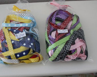 "3/8"" Dotted Grosgrain Ribbon - 15 yard bag of Assorted Colors"