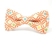 Honey Comb Bow Tie for Boys, Toddlers, Baby - Pre-tied bowtie - ring bearer, wedding day, photo prop, church or special occasion - coral