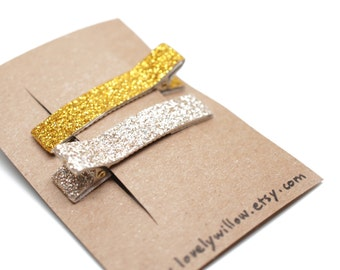 Gold & Silver Sparkling Glitter Alligator Hair Clip (Set of 2) - for all ages