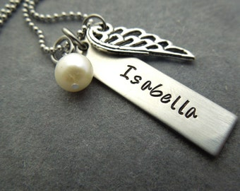 Personalized necklace hand stamped stainless steel necklace with wing charm and pearl
