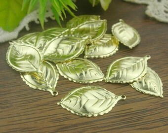 15 Pcs  Gold Plated Leaves Charm,Nickel Free12X21mm