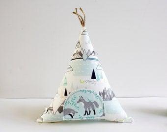 Tooth Fairy Fox Teepee Toy Pillow, Kids Room Decor, Decorative Pillow, Children, Stuffed Toy, Keepsake, Tipi