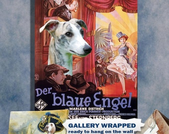 Whippet Art Vintage Poster Movie Style Canvas Print - The Blue Angel Movie Poster NEW COLLECTION by Nobility Dogs
