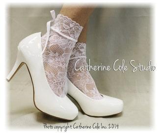 Wedding bridal socks, Lace sock, womens ankle socks, socks heels, peep socks, sexy socks, girly COSMOPOLITAN White Catherine Cole Studio FT5