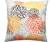 Orange Pillow, Zippered Pillow Cover, Blooms Chili Pepper Pillow, Cushion Cover, Floral Pillow, Spring Decor, Poppy Pillow, Decorative Throw