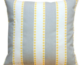 Throw Pillows, Lulu Grey and Yellow Pillow Cover, Striped Pillow, Zippered Pillow, Cushion Cover, Couch Pillows, Decorative Pillows, Sham