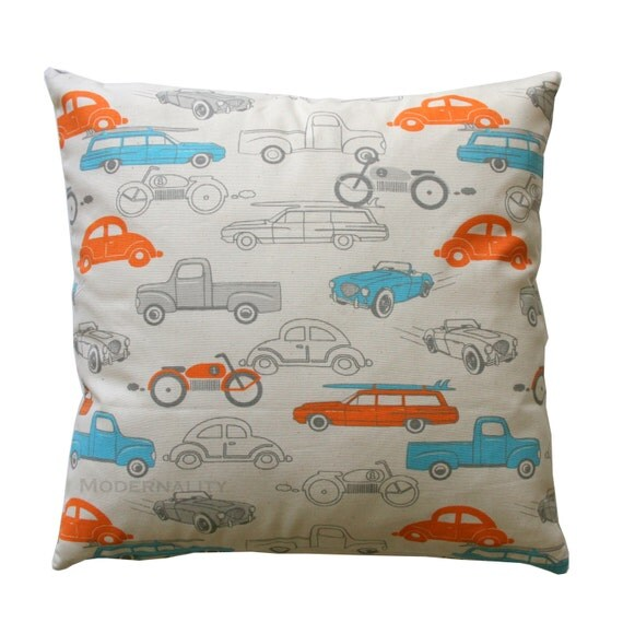 Childrens Pillow- Premier Prints Mandarin Orange Retro Rides Pillow Cover- All Sizes- Zippered Pillow Boys Room Decor Kids Cars Pillow