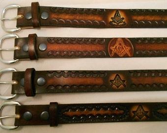 Masonic Leather Belt, USA HandCrafted, Free Masonry, Blue Lodge, Past Master Mason
