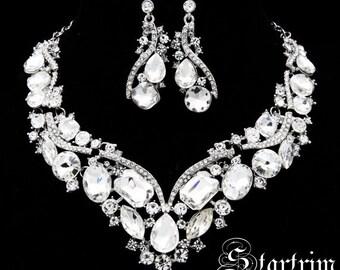 Swarvoski bridal crystal necklace earring set