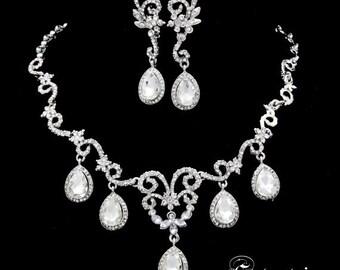 Sale 15% off  Swarvoski bridal crystal necklace earring set