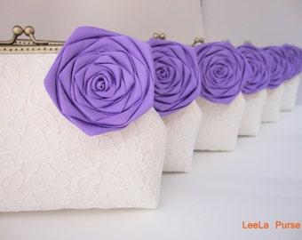 Periwinkle Bridesmaids gift ideas - Set of 6 lace clutches with chains - or choose your own initial option