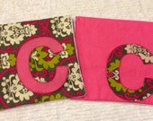 Personalized Baby Girl Gift Burp Cloths Set of 2 Polka Dot & Paisely Baby girl with Appliqued Initial