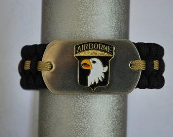 "Paracord Survival Bracelet - Black Paracord & 101st Airborne Dog Tag- with 5/8"" Buckle"