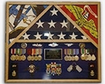 3 Flags Military Shadow Box, flag case for 3 flags