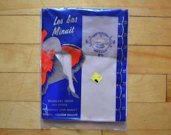 Women's Vintage 1950s Les bas Minuit Seamless Thigh High Nylons 8.5
