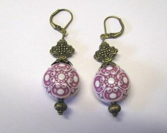 Vintage Style Purple & White Celtic Cross Dangle Earrings Antique Brass Lever Backs, Art Nouveau Style Pierced Earrings