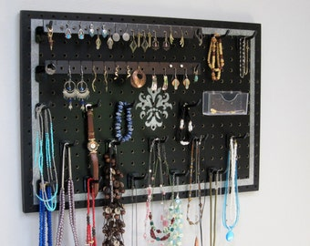 Jewelry Organizer - Necklace Hanger  - Earring Holder -- Black With Silver Framed Medallion design