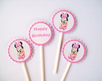 Pink Baby Minnie Mouse Cupcake Toppers/ Baby Girl Birthday Party/ Party Supplies/ Decorating/ Cake Toppers