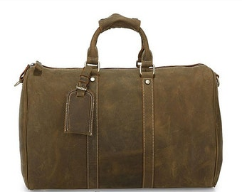 Large dark brown genuine leather duffel bag for travel or work