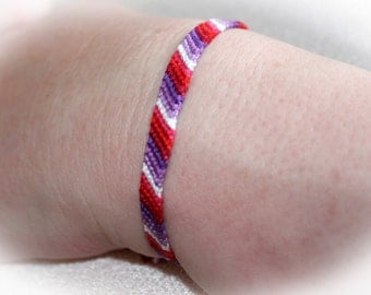 Lipstick Lesbian LGBT Pride Friendship Bracelet thin