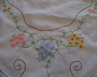 Embroidery Vintage Runner Crochet Border White Cotton with Pink Blue Yellow Flowers