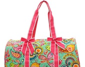 Personalized Quilted Bird Paisley Dot Duffle Bag- Monogrammed Duffle Bag~ Mongrammed Cheer Bag~ Embroidery Included