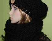 Soft Chunky Winter Slouchy Hat And Tube Scarf  Set, Trendy Teen/Women Winter Set in Black , Christmas Gift,Teen/ Women