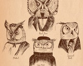 A History of Western Philosophy. With Owls. A4 art print by Jon Turner- surreal pen and ink artwork