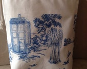 Tardis and Weeping Angels - Knitting or Crochet project bag