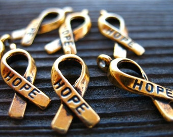 12 Antiqued Gold Awareness Ribbon Charm 18mm