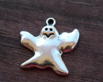 8 Silver Ghost Charms 24mm Halloween Pendant Antiqued Silver