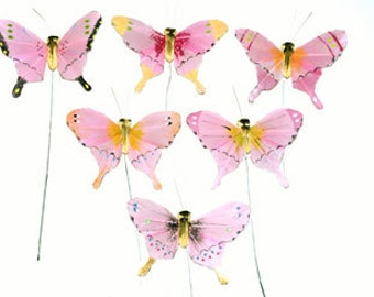 12 pc 3 Inch Pink Feather Butterflies (BF745), Wedding Butterflies, Party Butterflies ON SALE NOW!