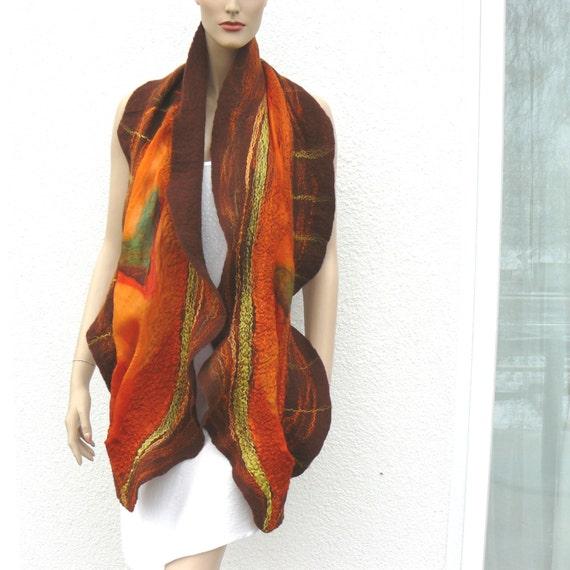 Felted scarf  wool Handmade Felt Chocolate brown and orange