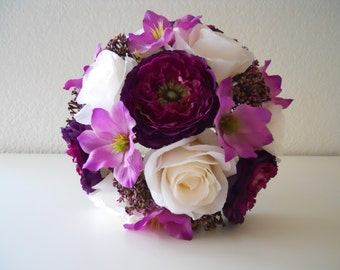 Sangria Fuchsia Burgundy Wine And Ivory Bridal Bouquet With Matching Bout