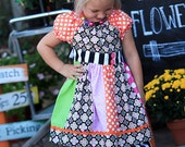 Bright Harvest Little Girls Dress and Double Ruffle Pants Set