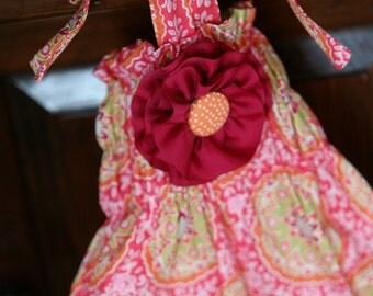 Citrus Circle with Detachable Aqua Pink Flower & Halter Back