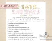 INSTANT PDF, Gold & Pink He Says She Says, Printable Bridal Shower Game, Download Now