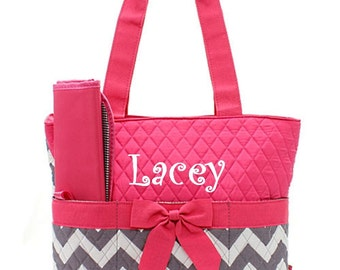 Personalized Gray & Hot Pink Chevron Diaper Bag Set- 3 piece quilted zig zag pattern baby girl Momogram FREE