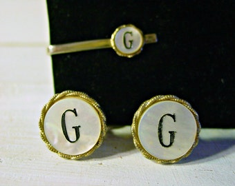 Vintage, Cuff Links and Tie Clip, Shield's Gold Tone Set, Mother of Pearl, G Monogram, Fathers Day gift, Collectible, Men's Accessories