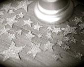 Star Confetti - Tiny Hand Cut Stars- Hand Glittered- 58 Stars - Silver Glass Glitter