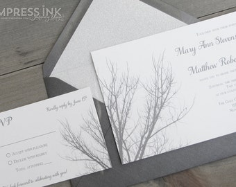 Winter Branches Wedding Invitation Sample | Flat or Pocket Fold Style