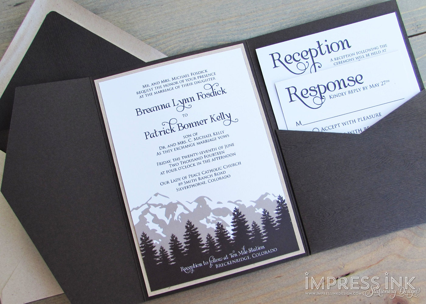 Rustic Cascade Mountains Wedding Invitation Sample Kraft Paper