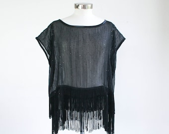 The ultimate fringe - black sequin chiffon top with fringe, women's fringe top