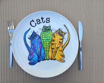 Hand painted plate - size 11 inches in diameter- Cats- dinner plate -Ceramic hand painted plates.